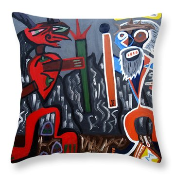 Throw Pillow featuring the painting Pros Vs. Cons by Ryan Demaree