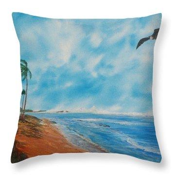 Puerto Nuevo Beach Throw Pillow