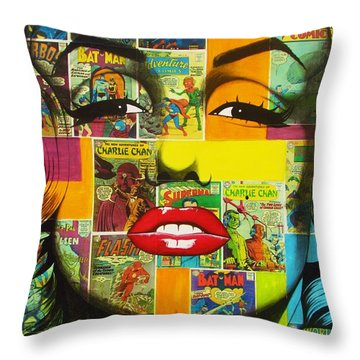 Pulp Marilyn Throw Pillow by Joseph Sonday
