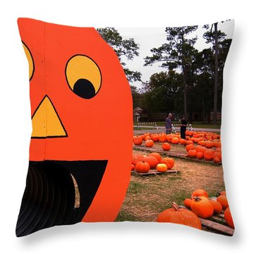 Throw Pillow featuring the photograph Pumpkin Patch by Bob Pardue