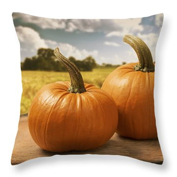 Pumpkins Throw Pillow by Amanda Elwell