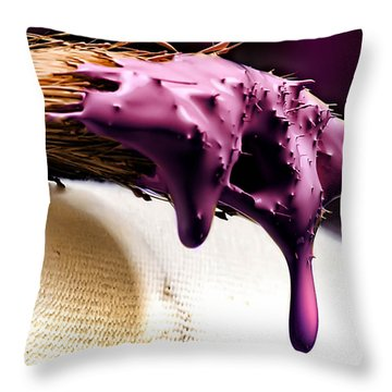 Purple Drip Throw Pillow by Camille Lopez