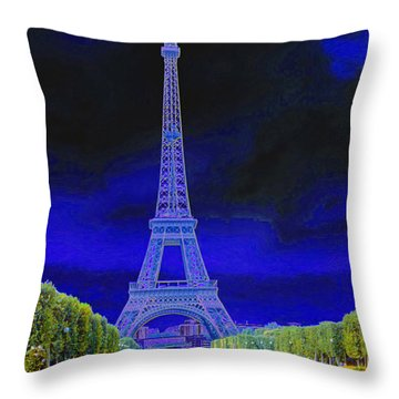 Purple Eiffel Throw Pillow by Chuck Staley