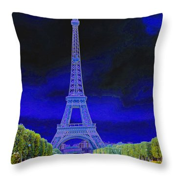 Purple Eiffel Throw Pillow