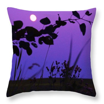 Purple Moon Throw Pillow