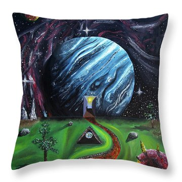 Throw Pillow featuring the painting Quantum Dementia by Ryan Demaree