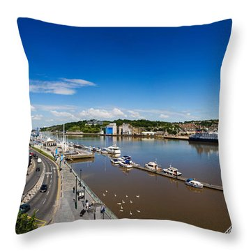 Quayside, Reginalds Tower, River Suir Throw Pillow