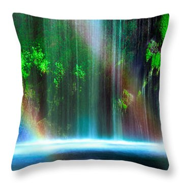 Rainbow Formed In Front Of A Waterfall Throw Pillow by Panoramic Images