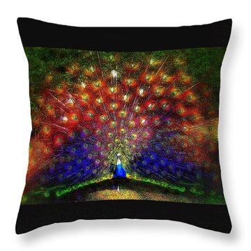 Throw Pillow featuring the photograph Rainbow Peacock by Jodie Marie Anne Richardson Traugott          aka jm-ART