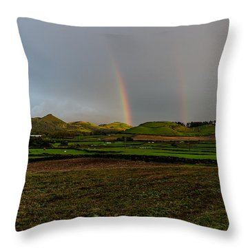 Rainbows Over The Mountain Throw Pillow