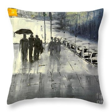 Rainy City Street Throw Pillow