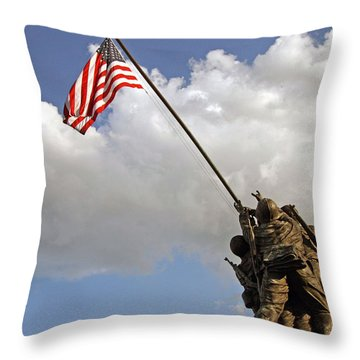 Throw Pillow featuring the photograph Raising The American Flag by Cora Wandel