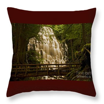 Ramona Falls Throw Pillow by Nick  Boren