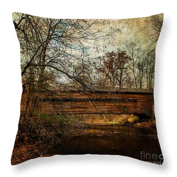 Rapps Dam Covered Bridge Throw Pillow by Judy Wolinsky