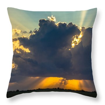 Rays From The Clouds Throw Pillow