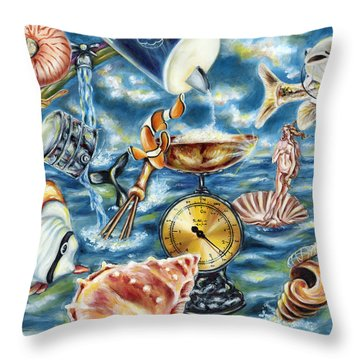 Throw Pillow featuring the painting Recipe Of Ocean by Hiroko Sakai