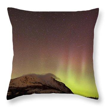 Red Aurora Borealis And Milky Way Throw Pillow