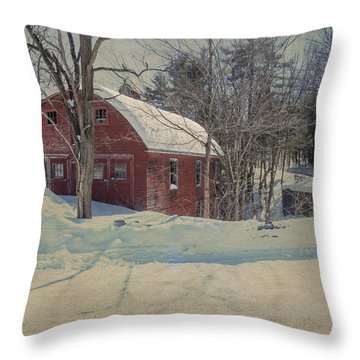 Throw Pillow featuring the photograph Red Barn Another View by Tom Singleton