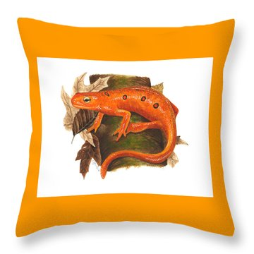 Red Eft Throw Pillow by Cindy Hitchcock