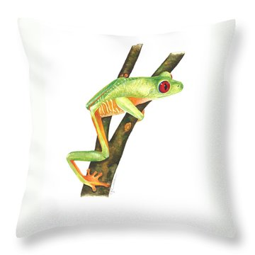 Red-eyed Treefrog Throw Pillow