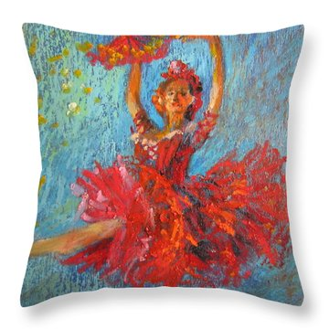 Red Fan Throw Pillow