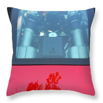 Throw Pillow featuring the photograph Red Ferrari Engine Window by Jeff Lowe
