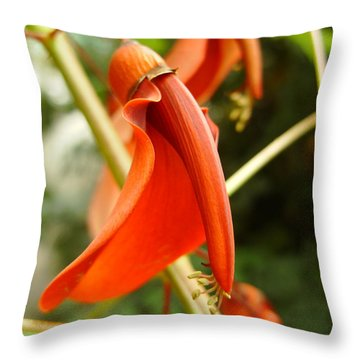 Red Flower Throw Pillow by Eva Csilla Horvath