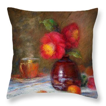 Red Flowers Throw Pillow by Nancy Stutes