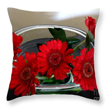Red Flowers. Special Throw Pillow