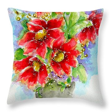 Throw Pillow featuring the painting Red Flowers by Patrice Torrillo