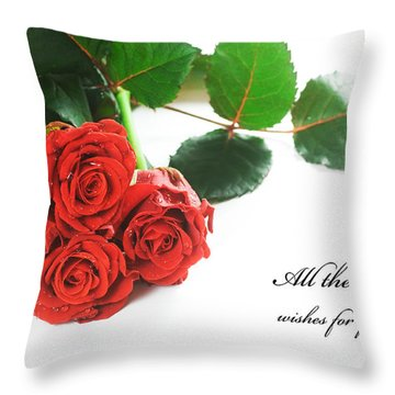 Red Fresh Roses On White Throw Pillow by Michal Bednarek