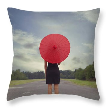 Red Parasol Throw Pillow by Joana Kruse