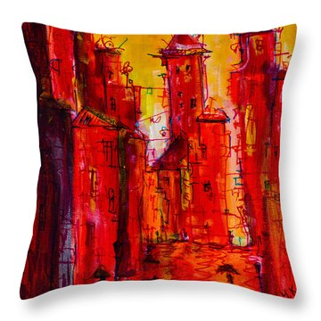 Red Rainy City 2 Throw Pillow