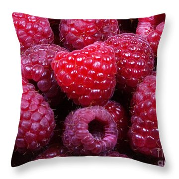 Red Raspberries Throw Pillow by Michael Waters