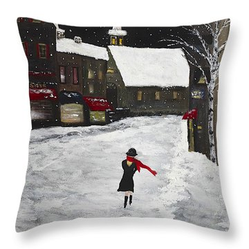 Red Scarf Winter Scene Throw Pillow