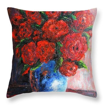 Throw Pillow featuring the painting Red Scent by Vesna Martinjak