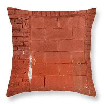 Red Wall With Immured Door Throw Pillow