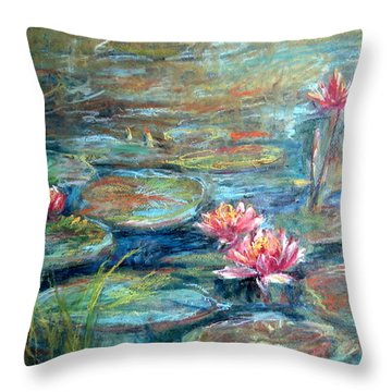 Red Waterlily Throw Pillow