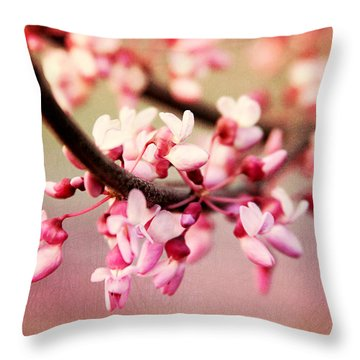 Throw Pillow featuring the photograph Redbud Blossoms by Trina  Ansel