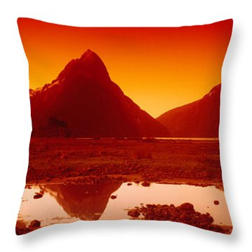 Reflection Of Mountains In A Lake Throw Pillow by Panoramic Images