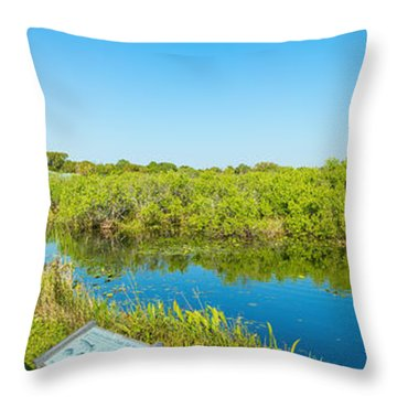 Reflection Of Trees In A Lake, Anhinga Throw Pillow
