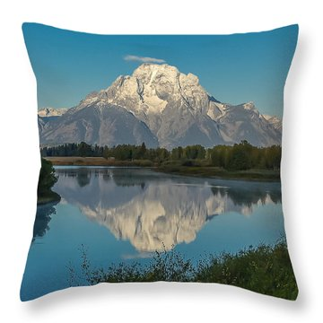 Reflections Of Mount Moran Throw Pillow
