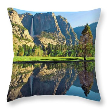 Reflections Of Yosemite Falls Throw Pillow