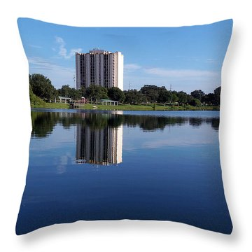 Throw Pillow featuring the photograph Reflections On Lake Silver 000 by Chris Mercer
