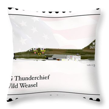 Throw Pillow featuring the digital art Republic F-105g Thunderchief Wild Weasel by Arthur Eggers