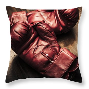 Retro Red Boxing Gloves On Wooden Training Bench Throw Pillow