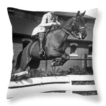 Rider Jumps At Horse Show Throw Pillow