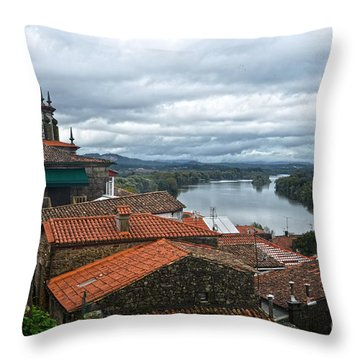 River Mino And Portugal From Tui Throw Pillow