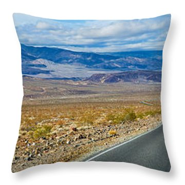 Road Passing Through A Desert, Death Throw Pillow by Panoramic Images