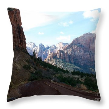Road Through Zion National Park Throw Pillow